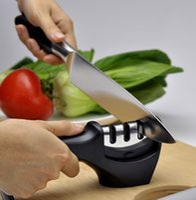 Wholesale Ceramic Slip - Knife Sharpener Quick Sharpener Professional 3 Stages Knife Grinder Non-Slip Silicone Rubber Ceramic Coarse Fine Sharpener