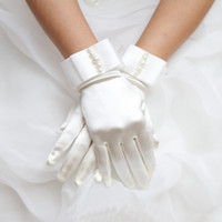 New 1pair Gloves Womens Short Full Fingers Faux Pearl Beaded Gloves With Bow Satin