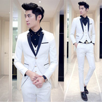Wholesale Korean Groom - jacket+vest+pant latest coat pant designs 2018 mens suits Korean groom tuxedo wedding dress suit mens Club 3-piece stage suits