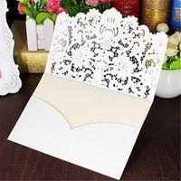 bedruckbare spitze großhandel-5 teile / satz Weiß Hohl Lace Cut Hochzeitseinladungen Karte Gefaltet Geprägte Blumen Einladung Druckbare Karten mit Umschlag Dichtung