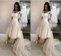 Wholesale tea length wedding dress empire - Lace Summer Short Wedding Dresses With 2018 Long Sleeve Appliques Lace Tulle Tea Length Beach Wedding Gowns Cheap Bridal Dresses