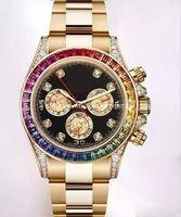 браслет 18k часов оптовых-Часы с бриллиантами для мужчин с высоким качеством 116598 RBOW Радужная рамка с черным циферблатом 18-каратного желтого золота с золотым браслетом Crystal Automatic Watch No Chronograph