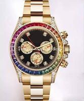 ingrosso orologi a quadranti gialli automatici-Diamond Watches Top Quality Uomo 116598 RBOW Arcobaleno lunetta quadrante nero 18 carati oro giallo Bracciale in oro cristallo automatico orologio no cronografo