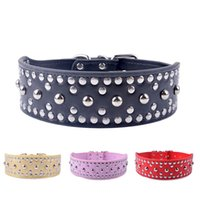 Wholesale Dog Leather Collars Xl - Fashion Dog Collars Pu Leather Mushroom Studded Puppy Pet Collar For Big Dogs 4Sizes M L XL XXL Pet Neck Strap Supplies