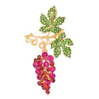 ingrosso spille d'uva-Pin Crystal Jewelry Diamond Brooch Spot all'ingrosso Grape Drop Oil Diamond Spilla di frutta Coreano Pink Brooch Fashion Pin Corsage Jewelry Women