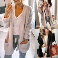 siyah uzun hırka kadın toptan satış-Kadınlar Kış Açık Dikiş Tasarımcısı Hırka Ceket Siper Uzun Örme Boy Siyah Haki Siper Palto S-2XL