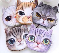 Wholesale wholesale girls change purse - 3D Cartoon Cats Face Zipper Coin Purses Wallets Mini Bag Pouch Girls Clutch Change Coin Case