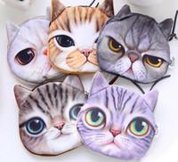 ingrosso borsa mini viso cartoon-Portamonete con portamonete con cerniera per gatti gatti in 3D Portafogli in valigetta con monete per bambina