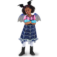 Wholesale children s hair bands - Vampirina Cartoon Half Sleeves Costumes Dress For Kids Children Party Celebration With Hair Band Halloween Stage XMAS Clothing MMA384