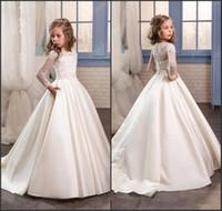 vestidos de princesa para el primer cumpleaños al por mayor-Princesa White Lace Flower Girl Dresses 2019 Nueva mangas largas de primera comunión Fiesta de cumpleaños Vestidos Chicas Concurso Vestido para bodas