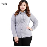 Wholesale Plus Size Vertical - TUHAO Plus Size Blouses For Women 6xl 8xl 10xl Vertical Stripes Office Lady Blouse Turn-down Collar Ruffles Formal Shirts MS27