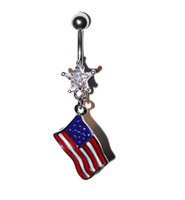 Wholesale national stainless - Newest prevent allergies body piercing belly button rings fashion national flag navel pendant rings umbilical nail T3C0111