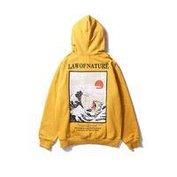 estilo de sudaderas de invierno al por mayor-Bordado japonés Funny Cat Wave Impreso Fleece Sudaderas Invierno Japón Estilo Hip Hop Sudaderas Casual Streetwear