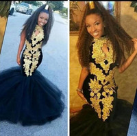 Wholesale teen pageant dresses size 12 - African Mermaid Prom Dresses With Gold Appliques Black Girls Formal Dresses Evening Wear Tulle Floor Length Girls Pageant Gowns For Teens