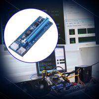 cable pci e 1x 16x al por mayor-DHL 16x a 1x Tarjeta adaptadora vertical elevadora PCI-E Cable de extensión USB 3.0 Riser Cable de alimentación de 6 pines PCI-E a SATA