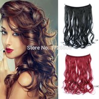 Wholesale multi color hair extension online - 18 Multi Color Fish Line Hair No Clips Hair Extension Brazilian Natural Wave Invisible Halo Synthetic Hair Extension Flip In