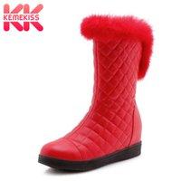 bot içeride kürk toptan satış-KemeKiss Kadınlar Peluş Kürk Orta Buzağı Çizmeler Yeni Moda Yuvarlak Ayak Kış Ayakkabı Kadın Sıcak Iç Topuklu Kısa Çizmeler Boyutu 31-41