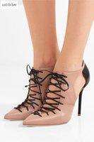 botas de renda bege venda por atacado-2018 mulheres da moda botas bege dedo apontado botas mulheres sapatos de festa lace up ankle boots vestido sapatos de salto alto botas