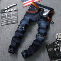 Wholesale famous foot - 2018 New Men Knee Hole Rivet Patchwork Jeans Male High Quality Famous Brand Summer Jeans Fashion Long Pants Soft Men Feet