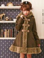 fd5baf9466 Japanese Women Long Woolen Coat Winter Single Breasted Blends Female Sweet Wool  Cute Bear ears Hood hooded Brown Slim Overcoat