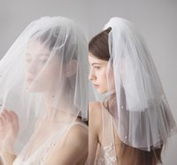 Wholesale shoulder veils for sale - Designed Layers White Wedding Veils Short Bridal Veil Beaded Fitted Soft Tulle veul with Comb In Stock CPA1618