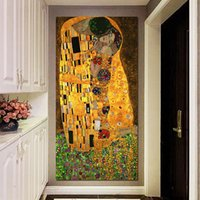 muazzam resim toptan satış-Öpücük Gustav Klimt yağ ve altın yaprak tuval 1 parça Duvar Sanatı büyük Modern Dekor Baskılı Boyama Tuval Resimleri