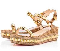 chaussures les plus fraîches achat en gros de-Été Femmes Sandales Fond Plat Femmes Chaussures Compensées Pyraclou / Cataclou Luxe Partie Sandal