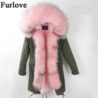 Wholesale Womens Real White Fur Coat - Womens Winter Jacket Women Coat Warm Jackets Real Raccoon Fur Collar Hooded Coats Thick Fur Parka Long Parkas DHL free shipping