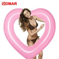 Wholesale inflatable new game - DMAR Inflatable Heart Swimming Ring Pool Float 110cm Giant Mattress Swimming Circle Adult Beach Summer Water Game Party Toy New