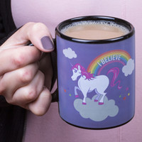 Wholesale Hand Horse Painting - Rainbow White Horse Cup Hand Painted Ceramic Coffee Cups Magic Temperature Sensing Color Change Unicorn Mug 16xs C R