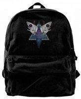 geometrie rucksack großhandel-Heilige Geometrie Himmel Hand Flügel Auge Mode Leinwand beste Rucksack einzigartige Camper Rucksack für Männer Frauen Teens College Reise Daypack schwarz