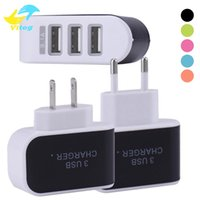 Wholesale Usb Power Adapter Uk - US EU Plug 3 USB Wall Chargers 5V 3.1A LED Adapter Charger Travel Convenient Power Adaptor with triple USB Ports For Mobile Phone