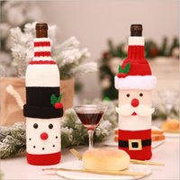 Wholesale Home Dinner Party Table Decors Wine Cover Christmas Decorations Santa Claus Snowman Gift Xmas Party Supplies