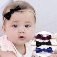 Wholesale velvet elastic headbands - Baby Girls Bowknot small ear Headbands Newborn Kids alete Elastic hairband Bow velvet headband Children Hair Accessories KHA607