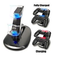 kit de carga xbox venda por atacado-Atacado-LED Dual Dock Charger Mount USB Suporte de carregamento para PlayStation 4 PS4 Xbox One Gaming controlador sem fio com caixa de varejo OTH775
