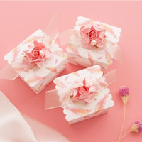 New Wedding Favor Boxes Creative Paper Gifts Boxes Pink Color With Lace Ribbon Baby Shower Party ar