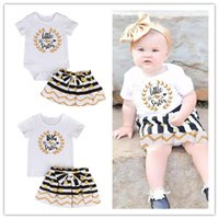 Wholesale yellow baby romper suit - Baby girl dress suit T-shirt  romper+skirt 2pcs a set letter Litter Big Sister ruffle golden black kid clothing lovely family clothes 0-7T B