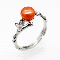 Wholesale sterling silver freshwater pearl ring - Wholesale fashion S925 silver freshwater pearl ring, pearl 28 colors (free shipping, pearls to be purchased separately)