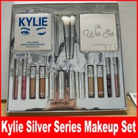 Wholesale Concealer Lipstick - Kylie Jenner Silver Series Makeup Set Wet Set Blue Honey Palette Skin Concealer Lipstick Lip Gloss Make up Brushes 18 in 1 Kit