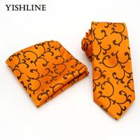 Wholesale Orange Silk Handkerchief - TB015 Classic Men's 100% Silk Tie & Handkerchief Set 8CM Orange Floral Jacquard Woven Necktie For Wedding Party Hanky Neck Ties