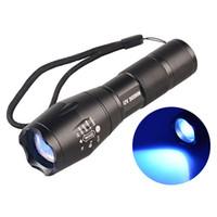 lanterna roxa venda por atacado-365nM 395nM 4 W Poder LED de Alumínio Zoom lâmpada UV lanterna Luz negra toque Voilet Roxo luz UV lâmpada