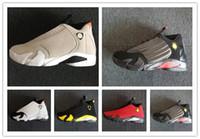 kutu atışı toptan satış-14 XIV TıRı KUM erkekler basketbol ayakkabı 14 s BRED SON SON KUTUSU Siyah Ayak Şeker Kamışı Spor Ayakkabıları sneakers kadın çizmeler açık Atletizm kutusu