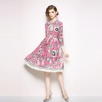 uzun pembe pilili elbiseler toptan satış-Kızlar Çiçek Elbiseler Zarif Parti ve Akşam Elbise Kadınlar için Uzun Kollu Pembe Pileli Elbise Sonbahar