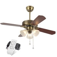 Wholesale Pink Industrial - Continental Retro Luxurious ceiling fan Loft Industrial Ceiling Fans with Lights for Restaurant Ultra-quiet Living Room Wood Fan
