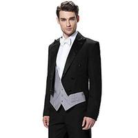 trajes de ajuste italiano al por mayor-Trajes de hombre negro italiano trajes formales enarboló la solapa de la chaqueta abrigo de doble botonadura para la fiesta de bodas vestido delgado blazer 3 piezas