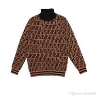 рубашка-свитер с водолазкой оптовых-Высокое качество 2018 г. № 1FENDI молодых людей два-цвет хаки свитер мода свитер мода дна рубашки м-3XL