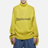 Wholesale Men S Turtle Neck Sweater - Gosha Rubchinskiy Sweater Russian Famous Brand Black Yellow Men Women Fashion Yellow Two Long SLeeve Turtle Neck HFLSMY012