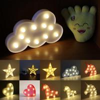 led yıldızlı şekilli ışıklar toptan satış-6 Stilleri Dekoratif Harfler Işık Yıldız / Bulut / Ay / Kalp / Unicorn Şekil DIY Sıcak Beyaz LED Gece Lambası Ev Yılbaşı Partisi Dekoru