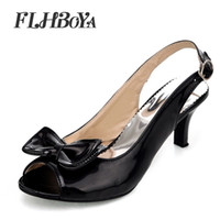 Discount back high heels for women - New Peep Toe Spike Heels Buckle Summer Shoes Sandals for Women Females Black Pink Red High heel Butterfly-Knot Ladies Mules pump