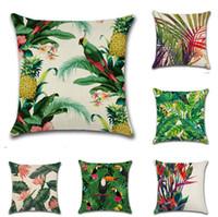 caso de estilo fresco al por mayor-2018 24 estilos Fashion Tropical Plant Tree Leaves Pillow Cover Fresh Throw Pillow Case cojín de lino para el uso del hotel en casa 45x45 cm